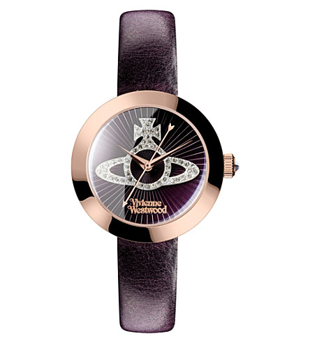 VIVIENNE WESTWOOD vv150rspp queensgate stainless steel and leather watch (Burgundy
