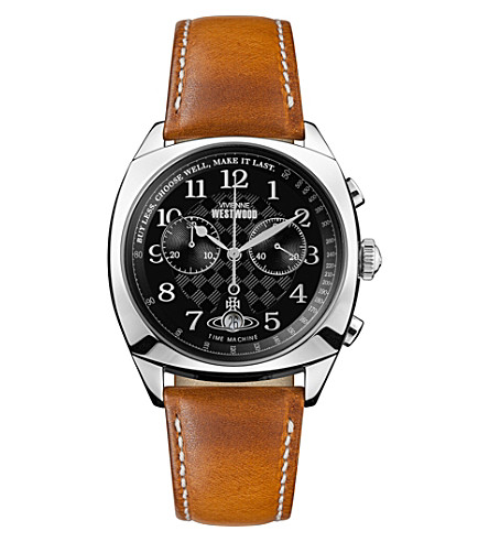 VIVIENNE WESTWOOD VV176BKTN Hampstead stainless steel and leather chronograph watch