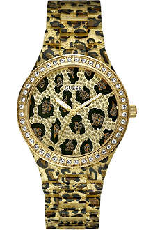 GUESS W0015L2 leopard print stainless steel watch