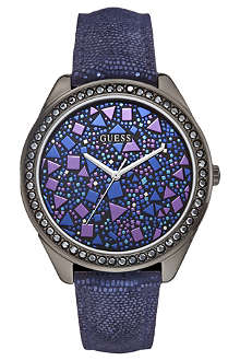 GUESS W0055L2 fractured stainless steel and leather watch