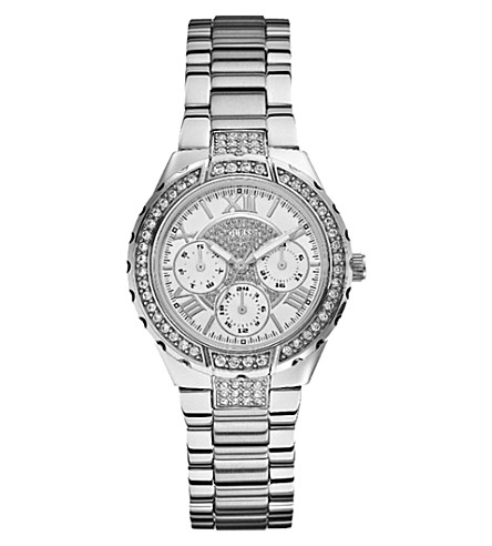 GUESS W0111L1 Viva silver-toned stainless steel watch (White