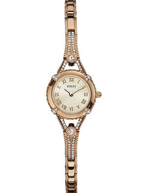 GUESS W0135L3 crystal-encrusted rose gold-toned watch