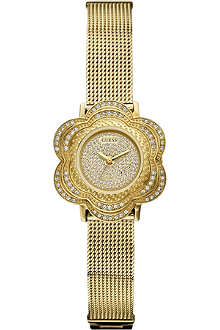 GUESS W0139L2 gold-toned flower stainless steel watch