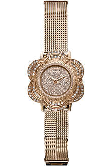 GUESS W0139L3 rose gold-toned flower stainless steel watch