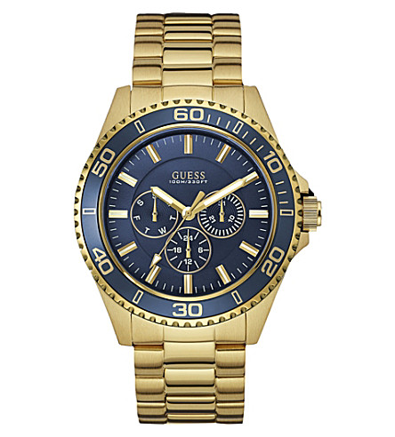 GUESS W0172g5 Chaser gold-plated stainless steel watch (Blue