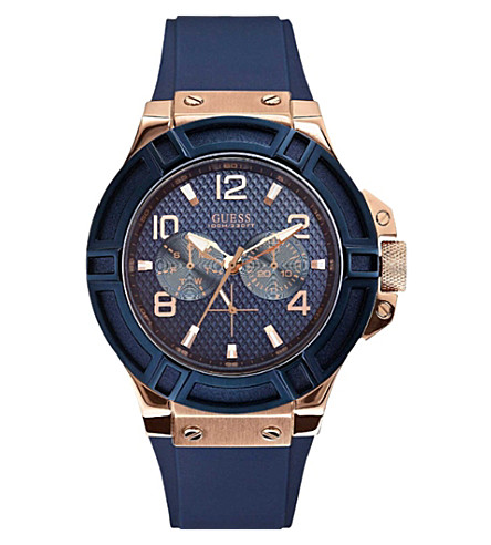 GUESS W0247G3 Rigor rose gold-toned PVD stainless steel and rubber watch (Blue