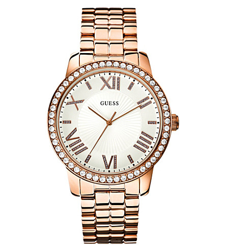 GUESS W0329l3 allure rose gold-plated watch (White