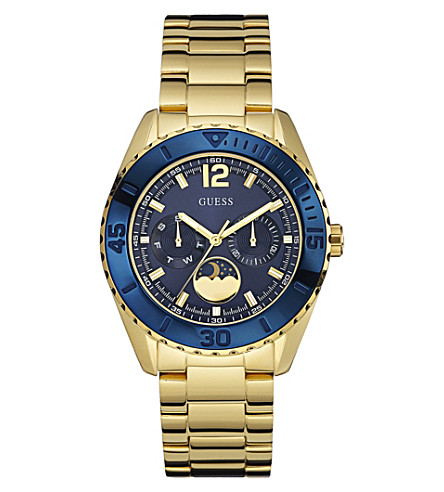 GUESS W0565L4 Moonstruck yellow gold-plated watch (Blue
