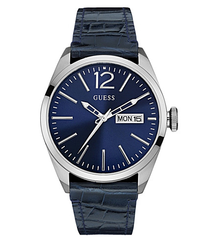GUESS W0658G1 Vertigo stainless steel and leather watch (Blue