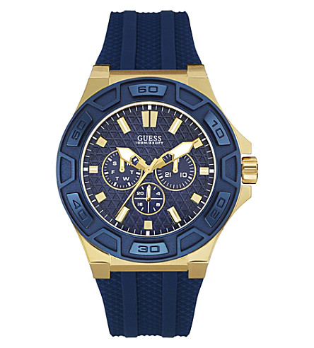 GUESS W0674G2 Force gold-plated quartz watch (Blue