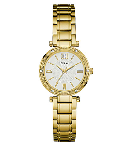 GUESS w0767l2 park ave gold-plated stainless steel watch