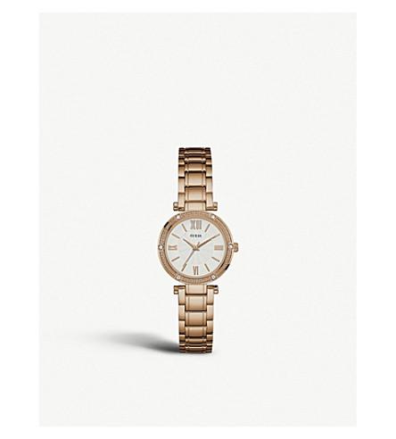 GUESS W0767L3 公园大道南玫瑰镀金不锈钢腕表