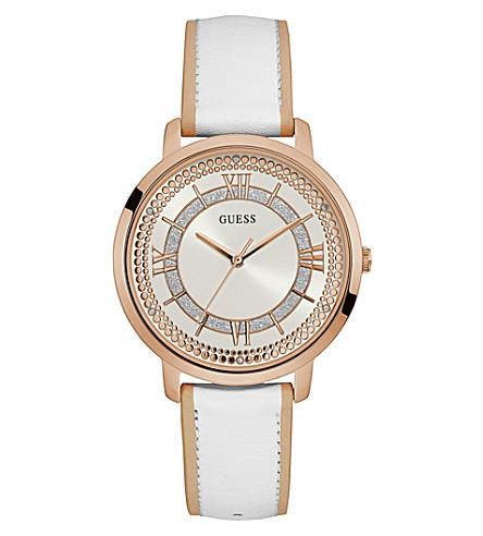 GUESS W0934L1 蒙托克玫瑰镀金不锈钢和皮革手表