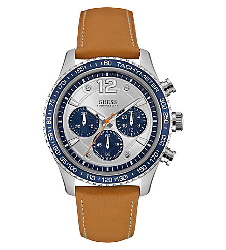 GUESS W0970G1 Fleet stainless steel and leather chronograph watch