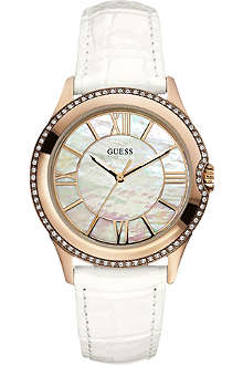 GUESS W10267L1 stainless steel and leather watch