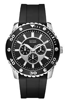 GUESS W10616G1 stainless steel and rubber chronograph watch