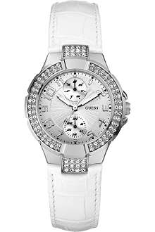 GUESS W11607L1 stainless steel and leather watch