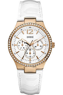 GUESS W13556L1 stainless steel and leather watch