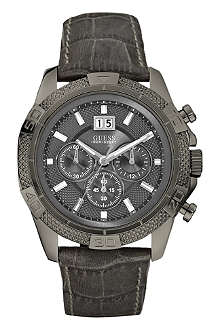 GUESS W19531G1 stainless steel and leather chronograph watch