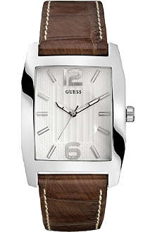 GUESS W70023G2 stainless steel and leather watch