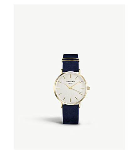 ROSEFIELD WBUG-W70 The West Village leather and gold-plated watch