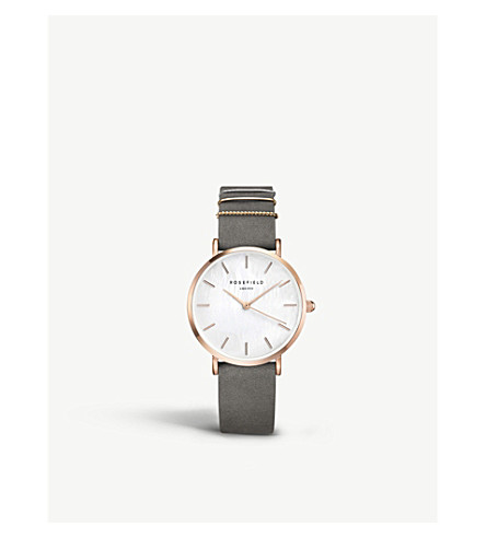 ROSEFIELD WEGR-W75 The West Village leather and gold-plated watch