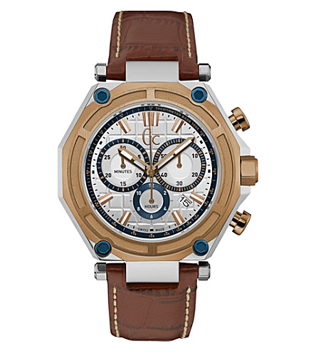 GC X10004G1S GC-3 stainless steel and leather watch
