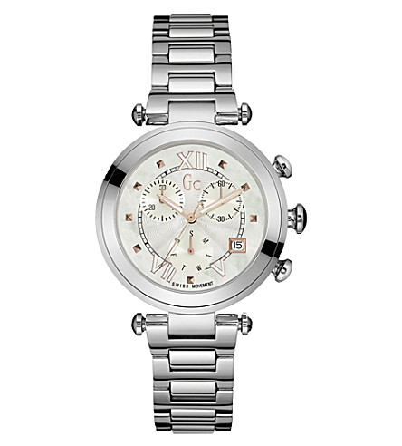 GC Y05010M1 LadyChic stainless steel and mother-of-pearl watch (White