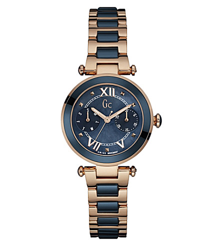 GC Y06009L7 LadyChic rose gold-plated and stainless steel watch (Blue