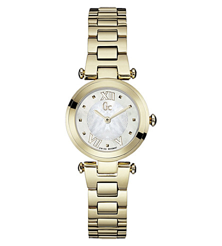 GC Y07008L1 Lady Chic yellow gold-plated watch (White