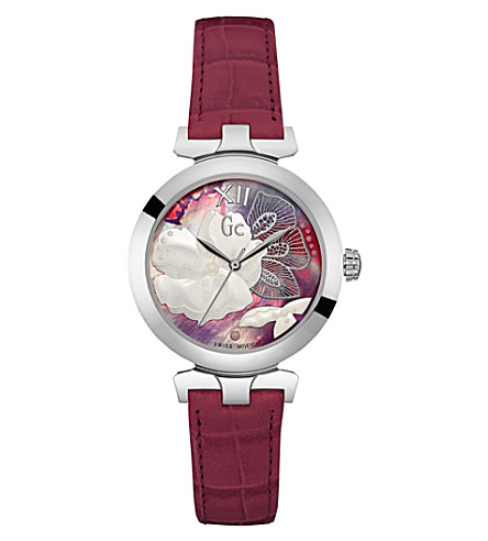 GC Y22005L3 Ladybelle stainless steel and leather watch