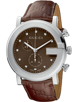 GUCCI YA101344 G-Chrono Collection stainless steel and leather watch