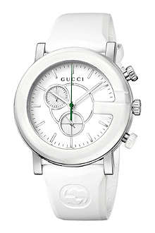 GUCCI YA101346 G-Chrono steel and rubber watch