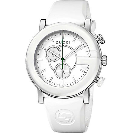 GUCCI YA101346 G-Chrono steel and rubber watch (White