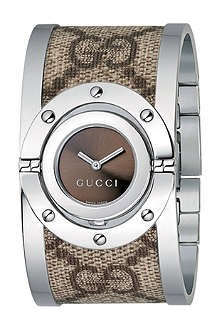GUCCI YA112425 twirl steel and fabric cuff watch