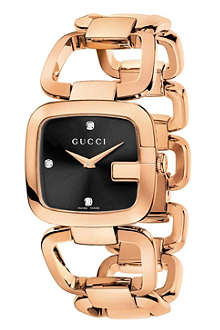 GUCCI YA125409 G-Gucci medium pink gold PVD watch
