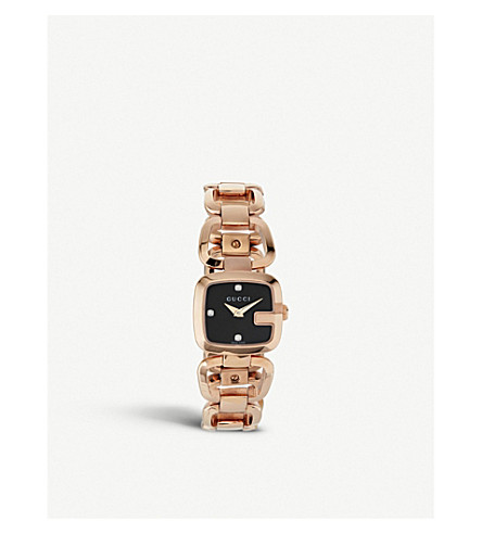 GUCCI YA125512 G-Gucci Collection pink-gold PVD watch (Black