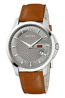 GUCCI YA126302 G-timeless stainless steel and leather watch