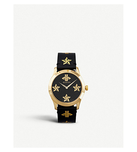 GUCCI YA1264055 G-Timeless yellow gold-plated stainless steel and leather watch