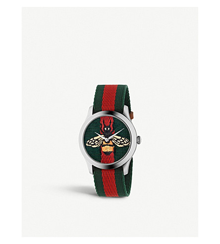 GUCCI YA1264060 G-Timeless stainless steel and canvas watch