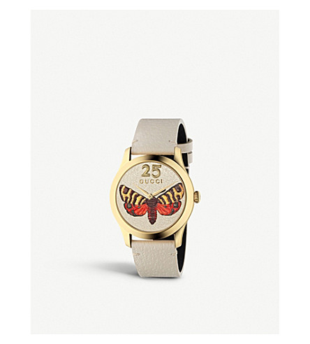 GUCCI YA1264063 G-Timeless yellow gold-plated stainless steel and leather watch