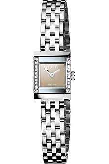 GUCCI YA128508 G-Frame diamond-set stainless steel watch