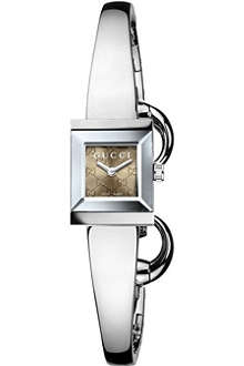 GUCCI YA128510 G-Frame stainless steel bangle watch