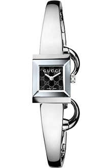 GUCCI YA128512 G-Frame stainless steel bangle watch