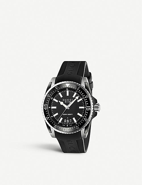 GUCCI: YA136204 Dive stainless steel and rubber watch
