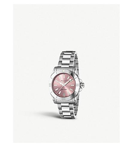 GUCCI YA136401 潜水不锈钢腕表 (粉红色