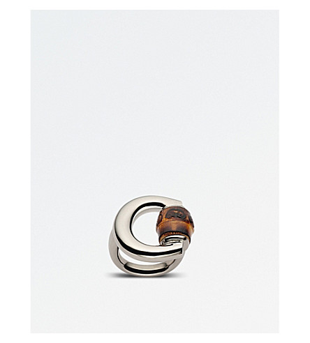 GUCCI Horsebit bamboo-detailing sterling silver ring