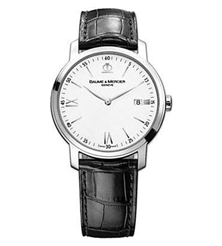 BAUME & MERCIER 10097 Classima steel and leather watch (White