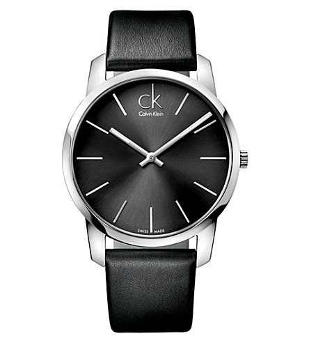CALVIN KLEIN K2G21107 City stainless steel and leather watch (Black