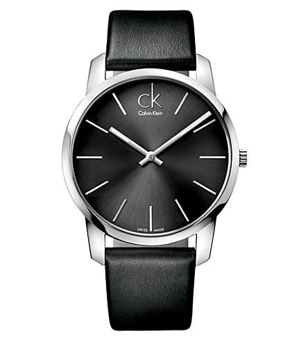 CALVIN KLEIN K2G21107 城不锈钢皮表带腕表 (黑